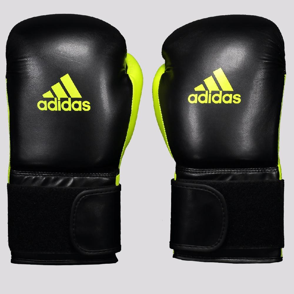 kit Luva de Boxer Adidas Power 100, Bandagem e protetor bucal - Preto/Amarelo