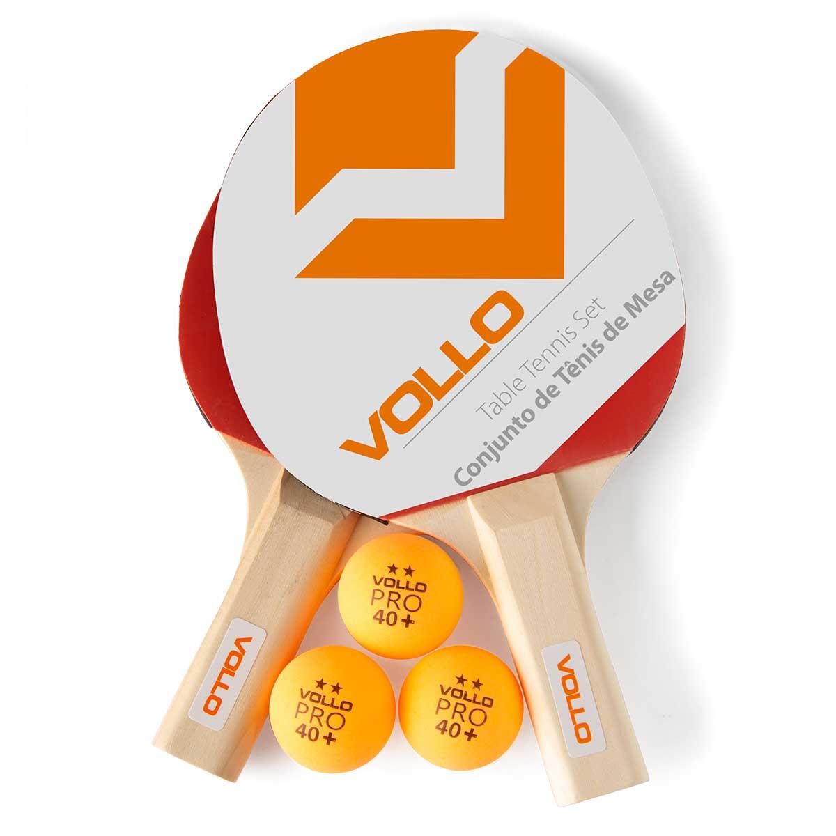 Kit Raquete Tenis de Mesa Vollo 2 Raquetes 3 Bolas