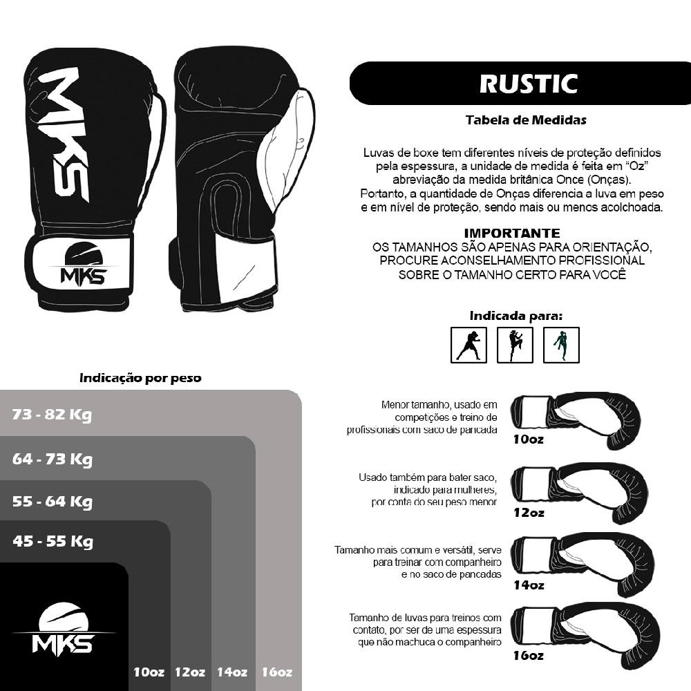 Luva Boxe Mks Combat Rustic  - Preto/Branco