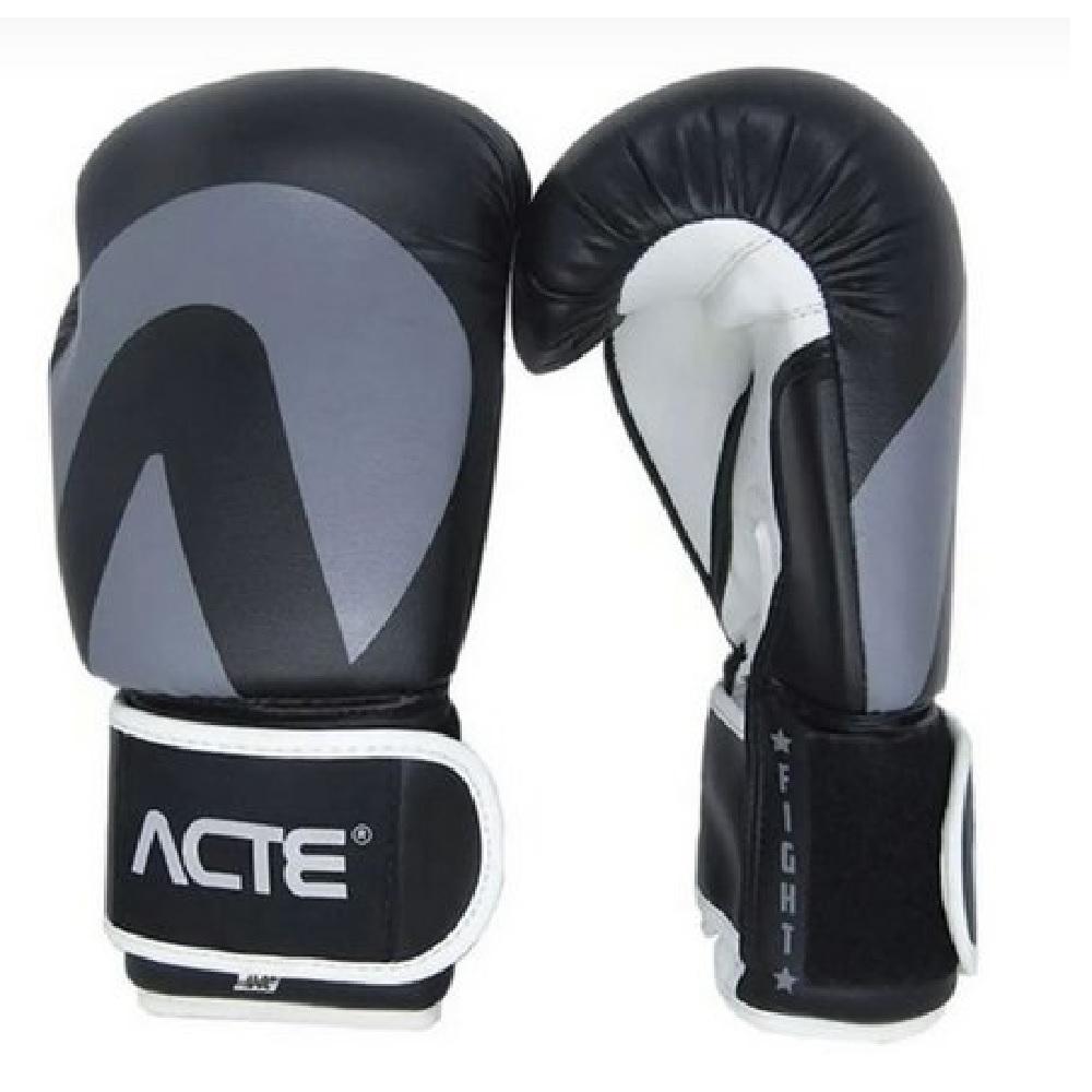 Luvas de Boxe Acte - Fight - Preta e Cinza
