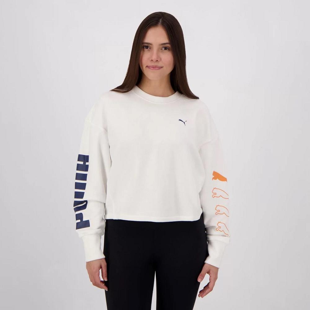Moletom Puma Rebel Crew Feminino - Branco