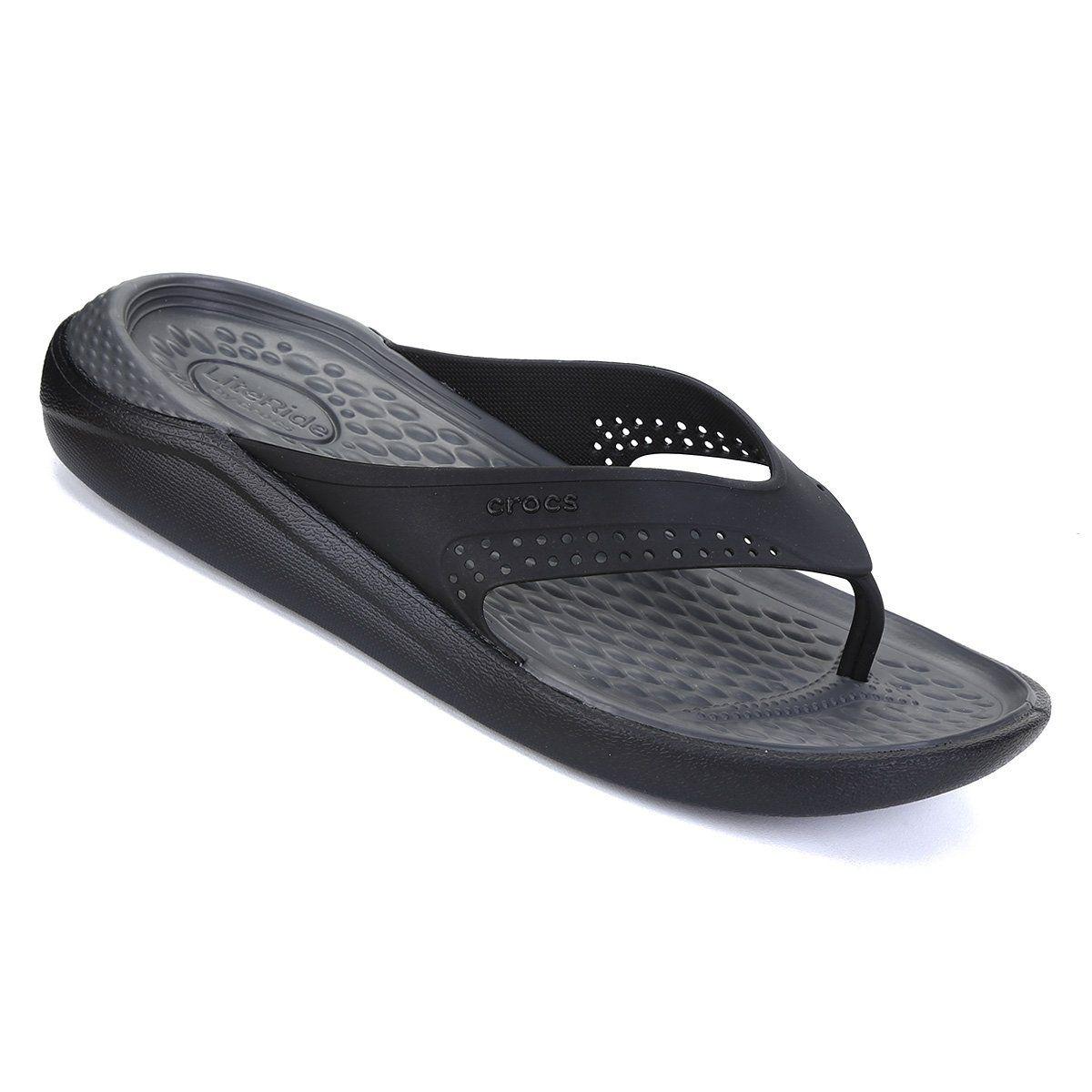 Sandália Crocs Literide Flip - Preto e Cinza