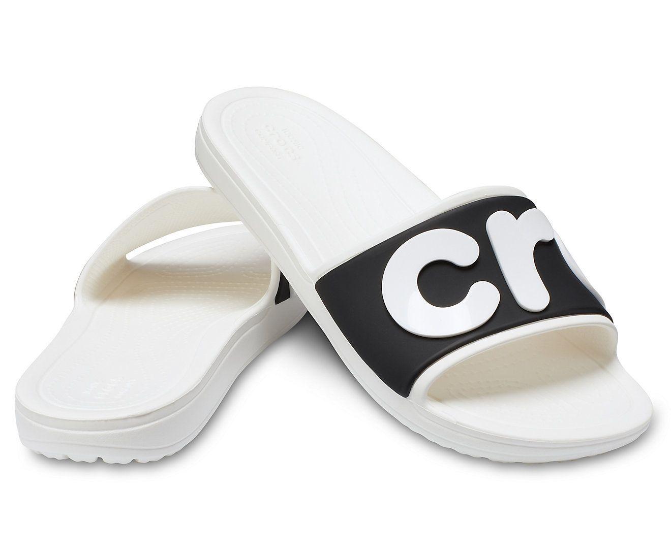 9df0f7c05 Chinelo Sandália Crocs Sloane Logo Slide - White   Black - Titanes Esportes