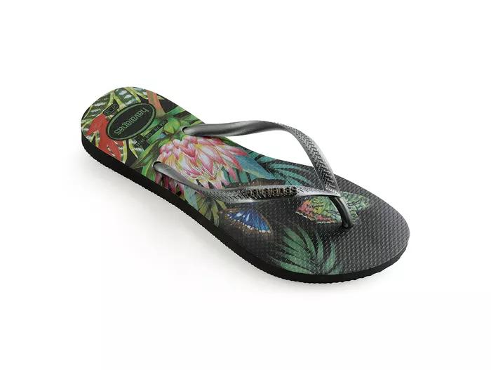 Sandália Havaiana Slim Tropical Preta