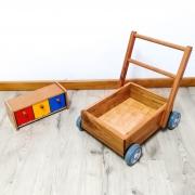 Kit Carrinho Montessori e Caixa de Gamelas