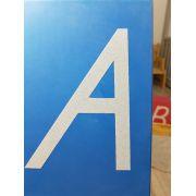 Letras de Lixa Maiúsculas vogais azuis