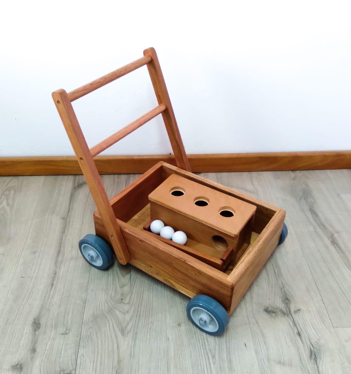 Kit Carrinho Montessori e Bola de Empurrar