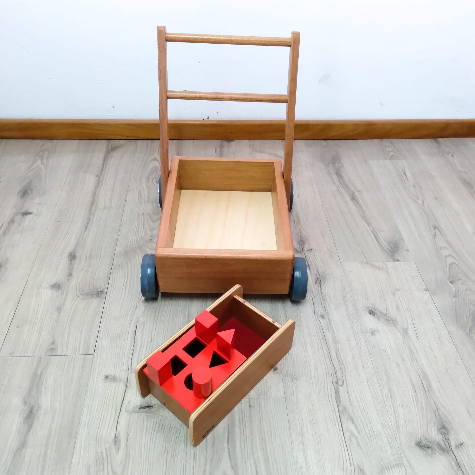 Kit Carrinho Montessori e Sólidos Geométricos para Bebê