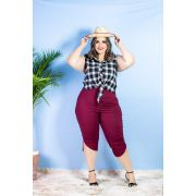 f4021816f0 Conjunto Plus Size Blusa Quadriculada e Pantacourt Roupas Feminina