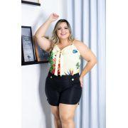 bb0354fc1 Conjunto Plus Size Blusa + Short Moda Roupas Femininas
