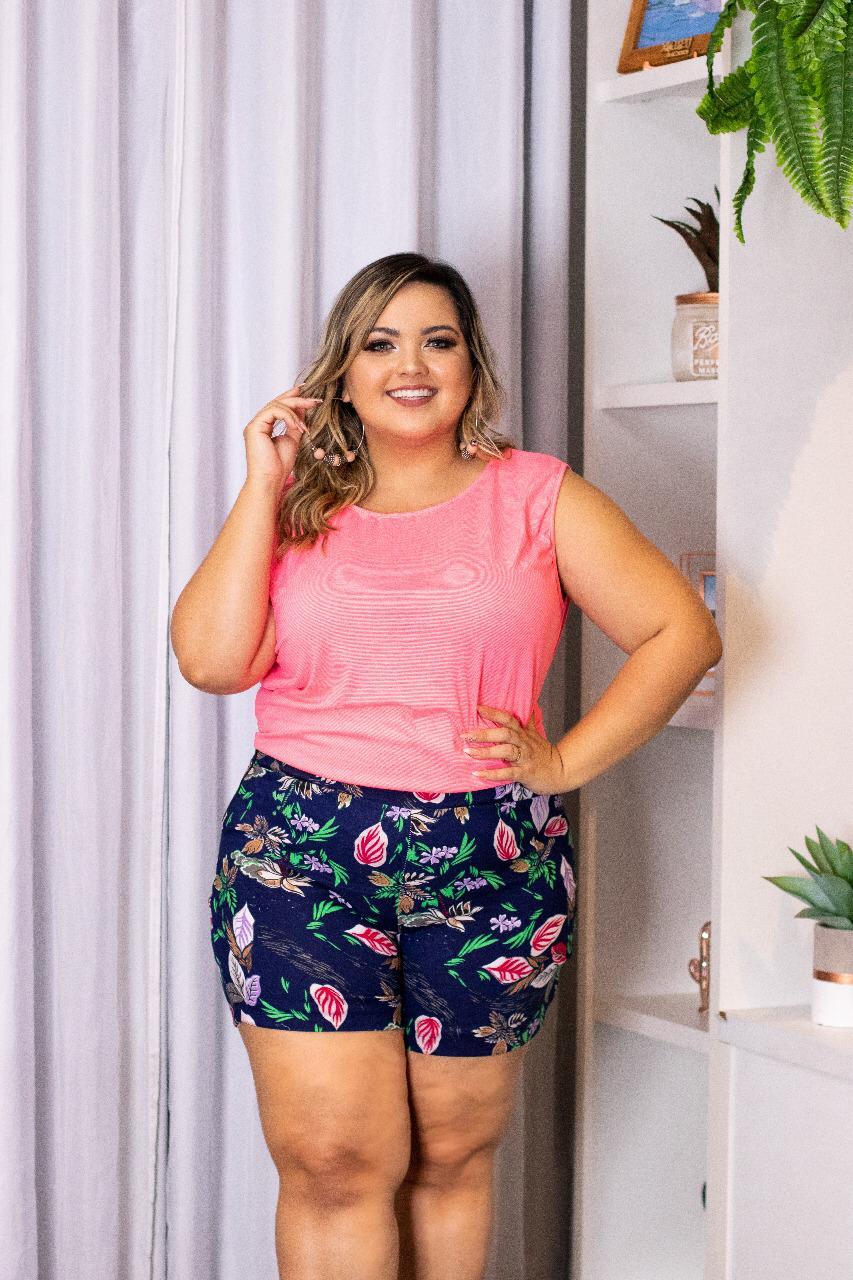 8e0a5a24a Conjunto blusa + Short Moda plus Size Roupas Femininas - Bellucy Modas