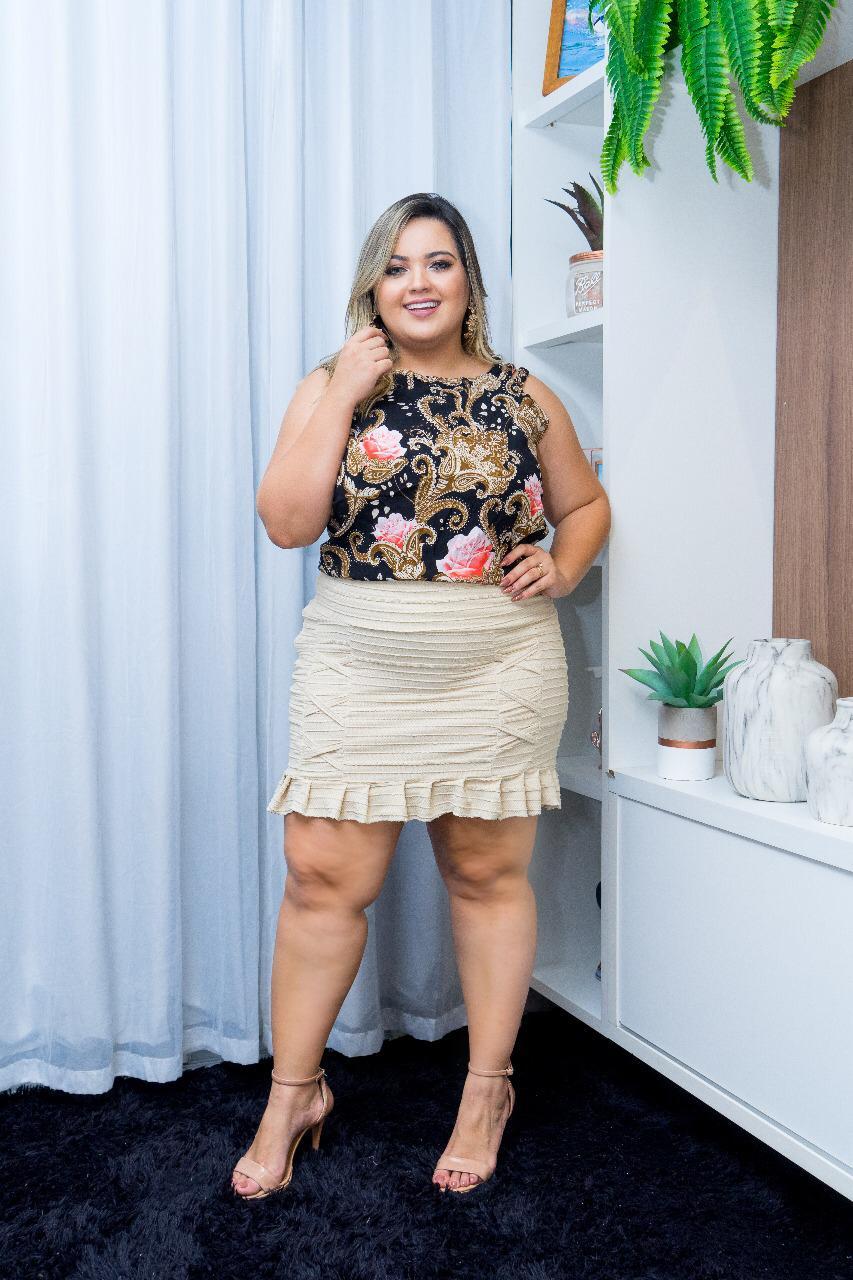 3c87efb5eb Conjunto Feminino Plus Size Blusa + Saia Moda Roupas Femininas ...