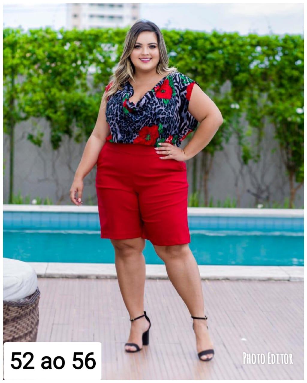 20bd65c5ea Conjunto Plus Size Estampado Blusa + Short Roupas Femininas ...