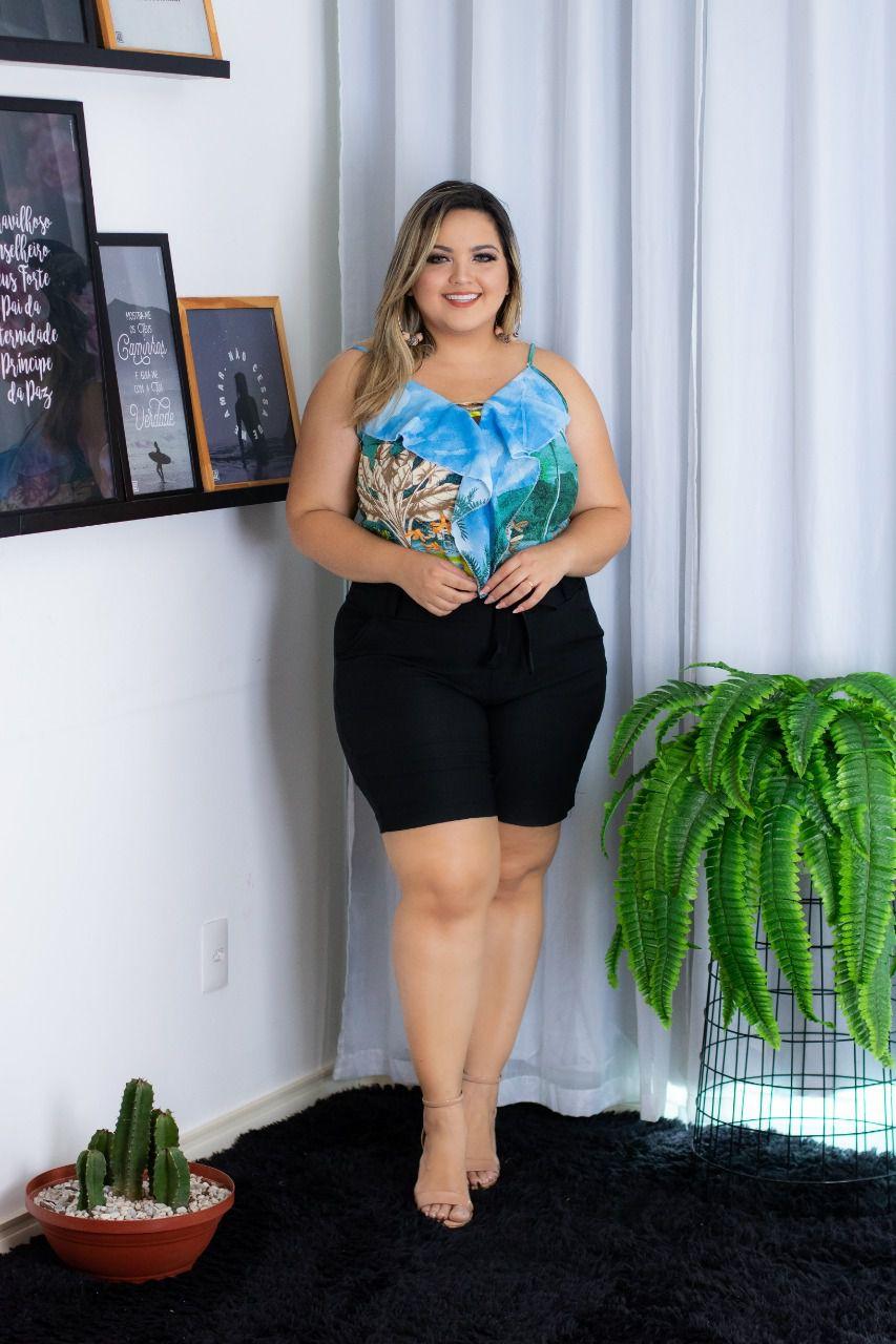 9b4c8312f Conjunto Plus Size Short Blusa Estampada Roupa Moda Feminina ...