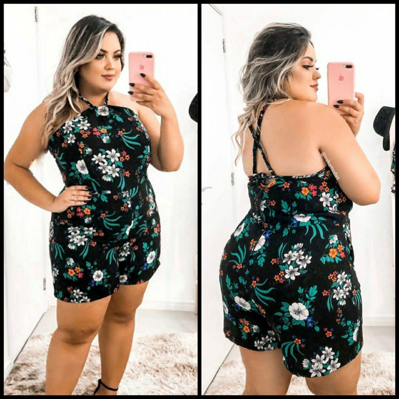 960431806 Macaquinho Feminino GG Lindo Moda Roupas Femininas - Bellucy Modas