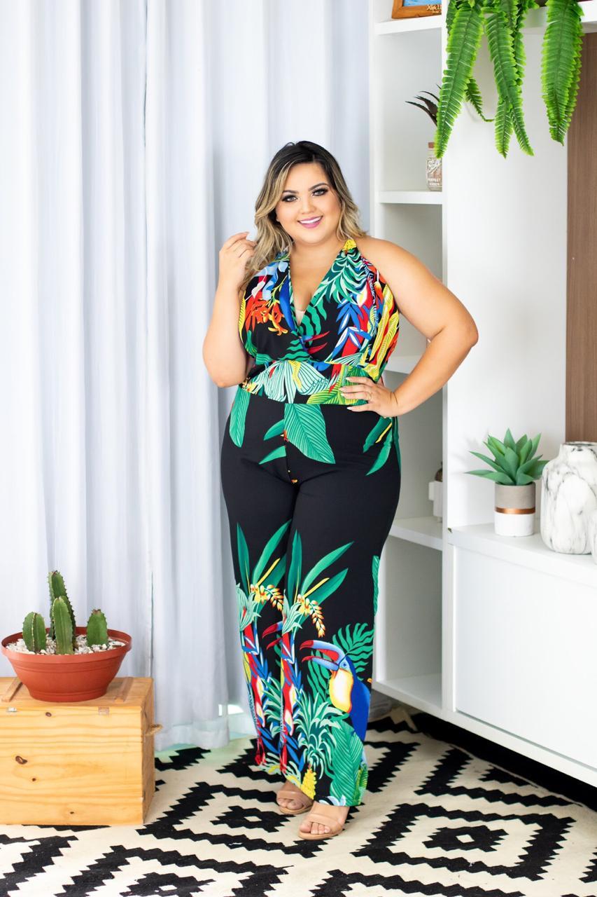 0f2fcac14 Macaquinho Plus Size Estampado Lindo Roupas Femininas - Bellucy Modas
