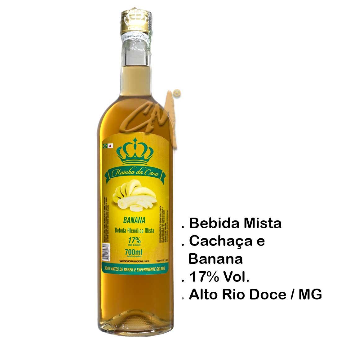 Bebida Mista Cachaça Rainha da Cana Banana 700 ml (Alto Rio Doce - MG)