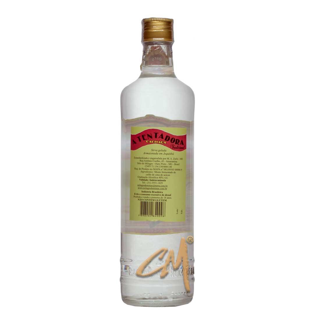 Cachaça A Tentadora Tradicional 670 ml (Ouro Preto - MG)
