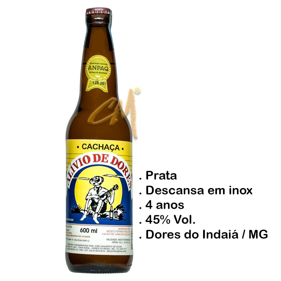 Cachaça Alívio de Dores 600 ml   (Dores do Indaiá - MG)