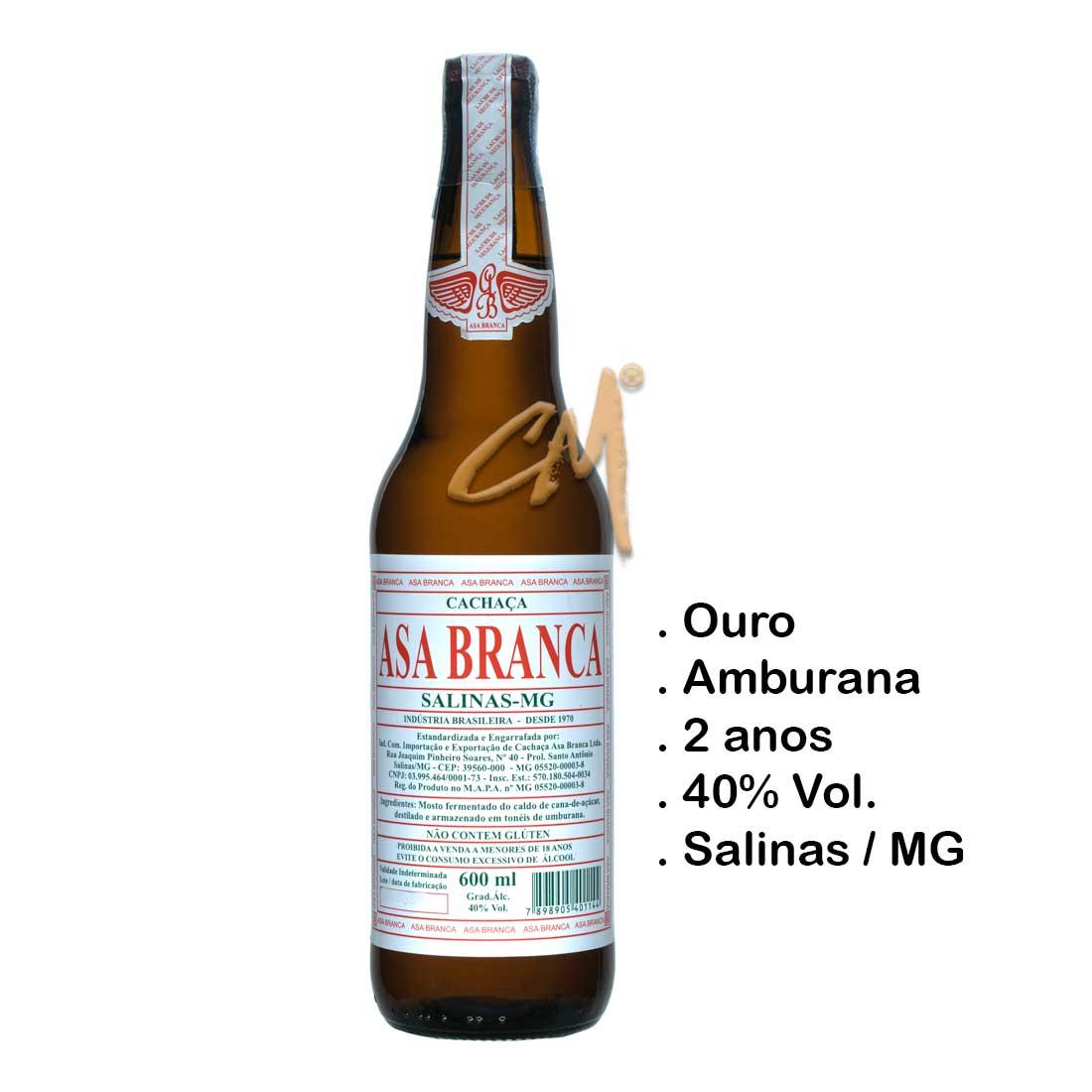 Cachaça Asa Branca Amburana 600 ml (Salinas - MG)