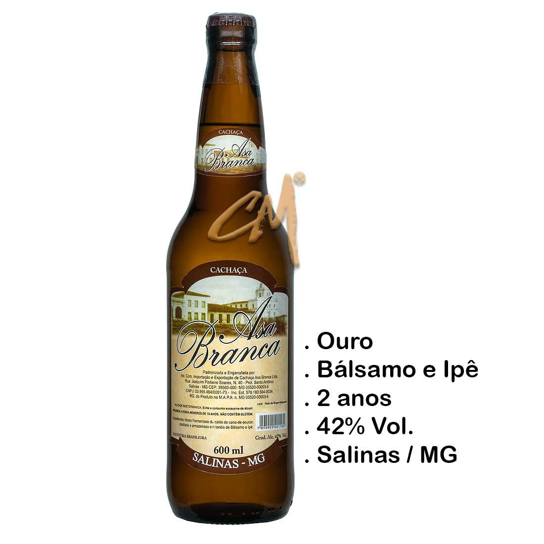 Cachaça Asa Branca Bálsamo 600 ml (Salinas - MG)