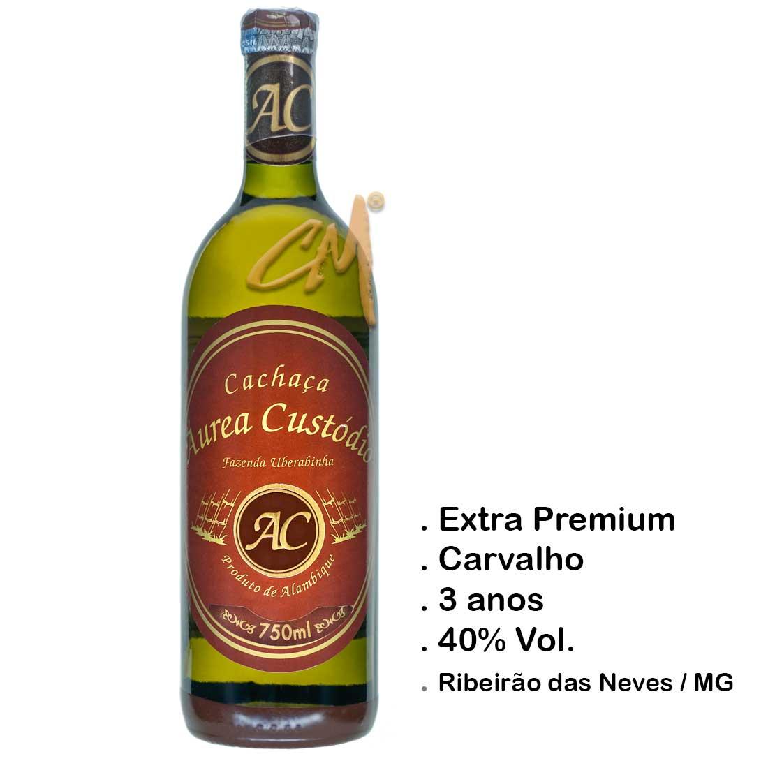 Cachaça Áurea Custódio 3 anos 750 ml  (Ribeirão das Neves - MG)