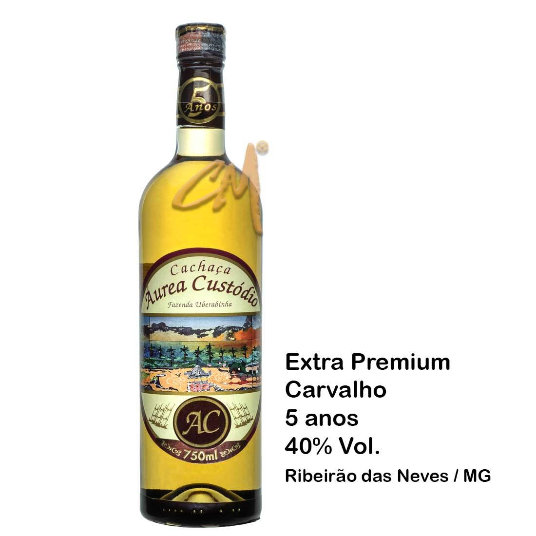 Cachaça Áurea Custódio 5 anos 750 ml  (Ribeirão das Neves - MG)