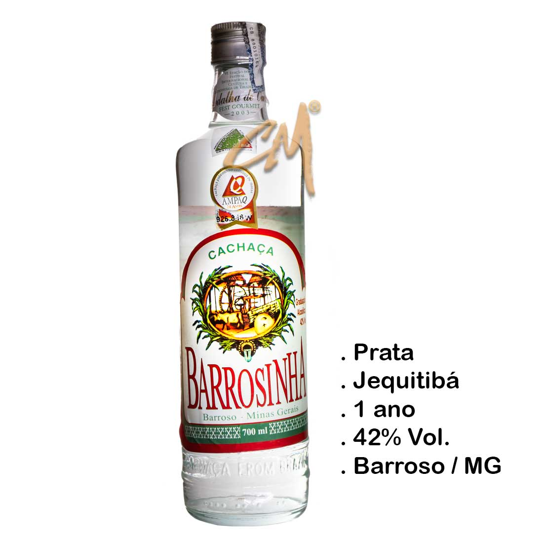 Cachaça Barrosinha Prata 700 ml (Barroso - MG)