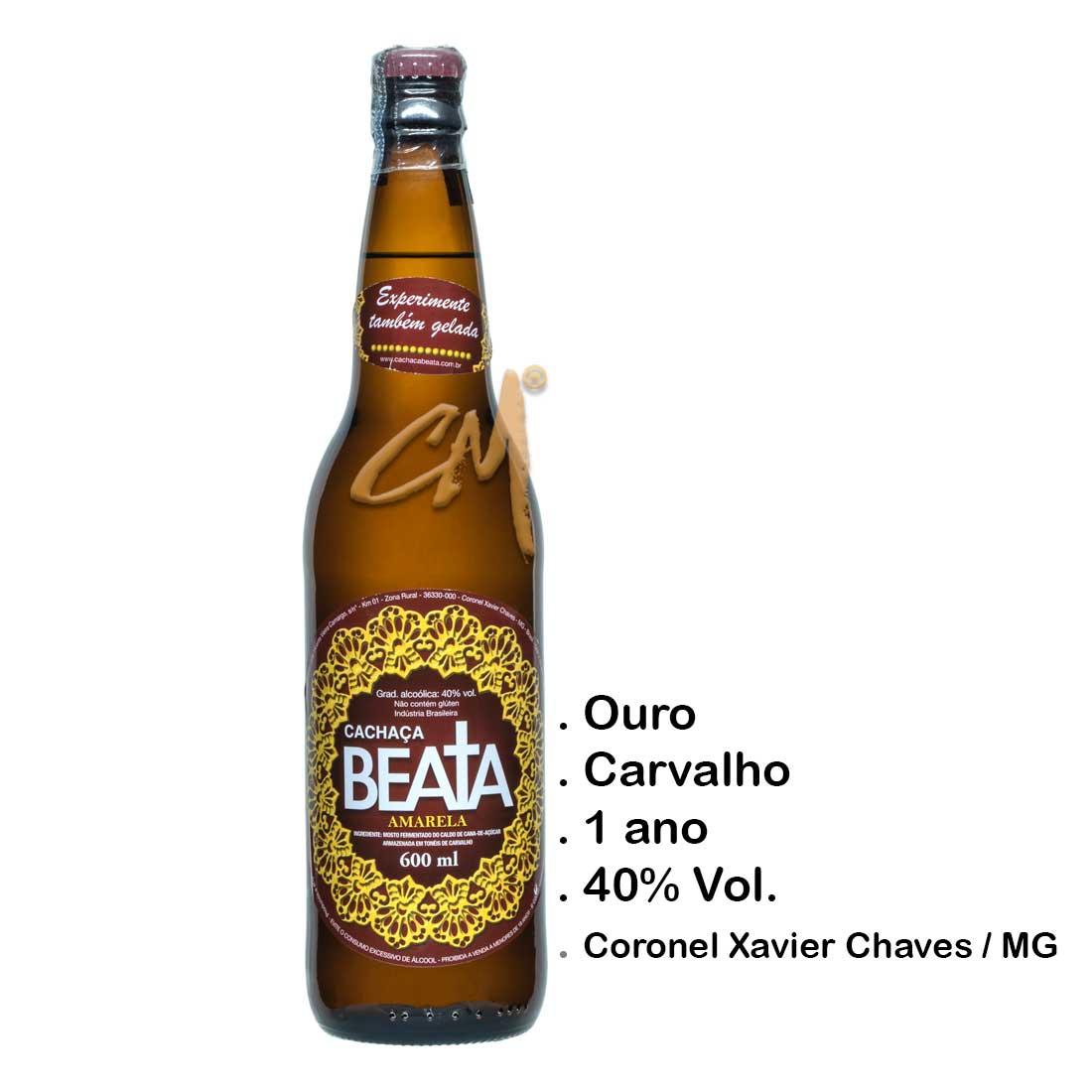 Cachaça Beata Amarela 600 ml (Coronel Xavier Chaves - MG)