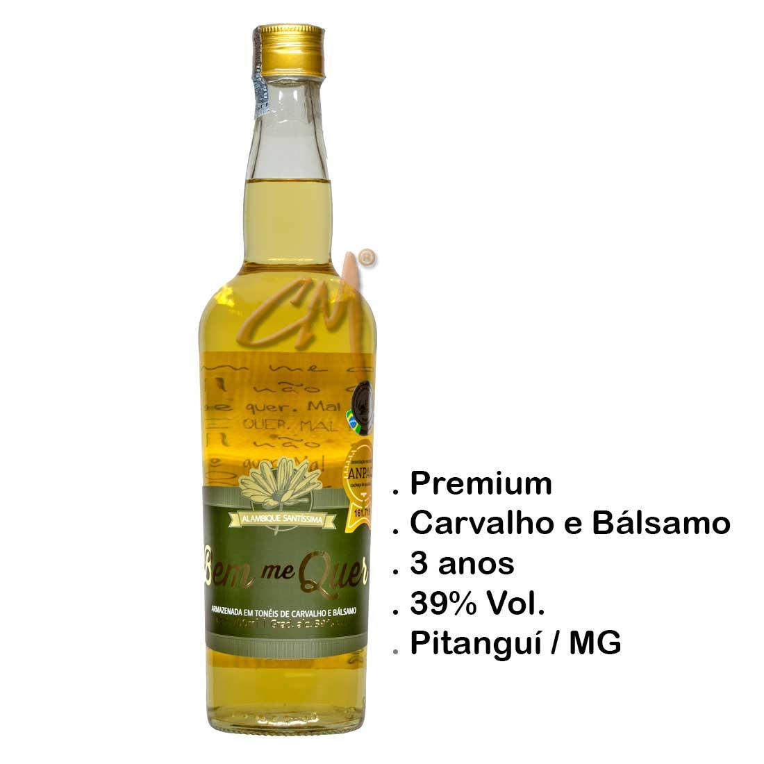 Cachaça Bem Me Quer Ouro 700 ml (Pitanguí - MG)
