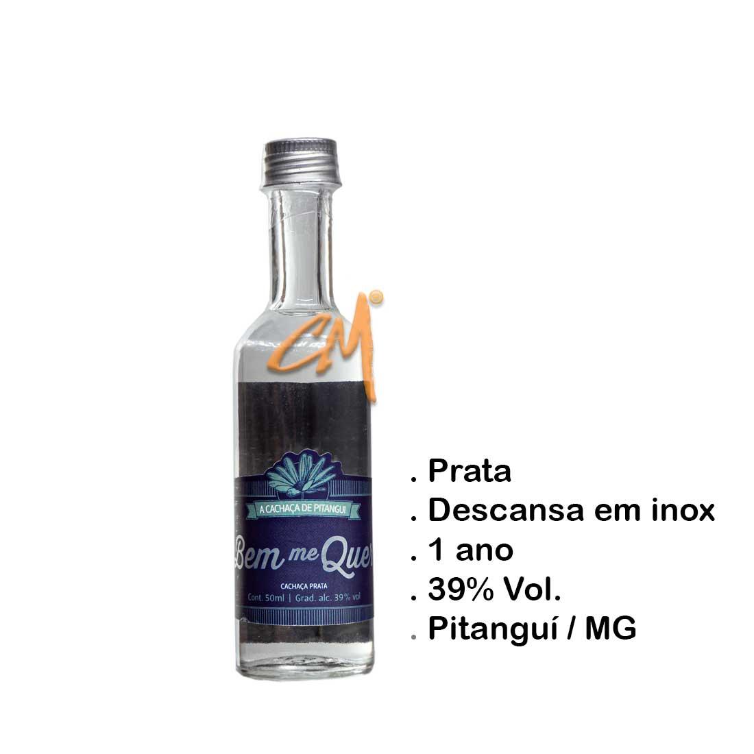 Cachaça Bem Me Quer Prata 50 ml (Pitanguí - MG)