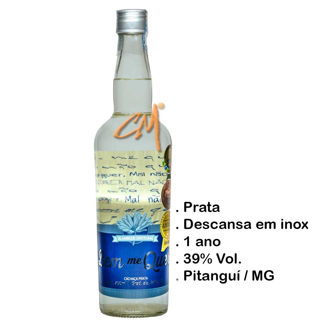 Cachaça Bem Me Quer Prata 700 ml (Pitanguí - MG)