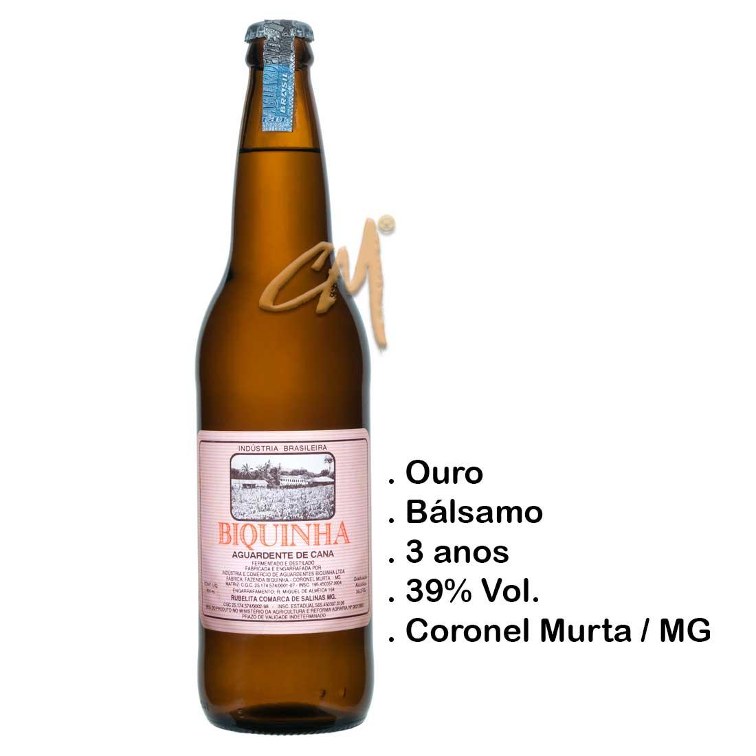 Cachaça Biquinha 600 ml  (Coronel Murta - MG)