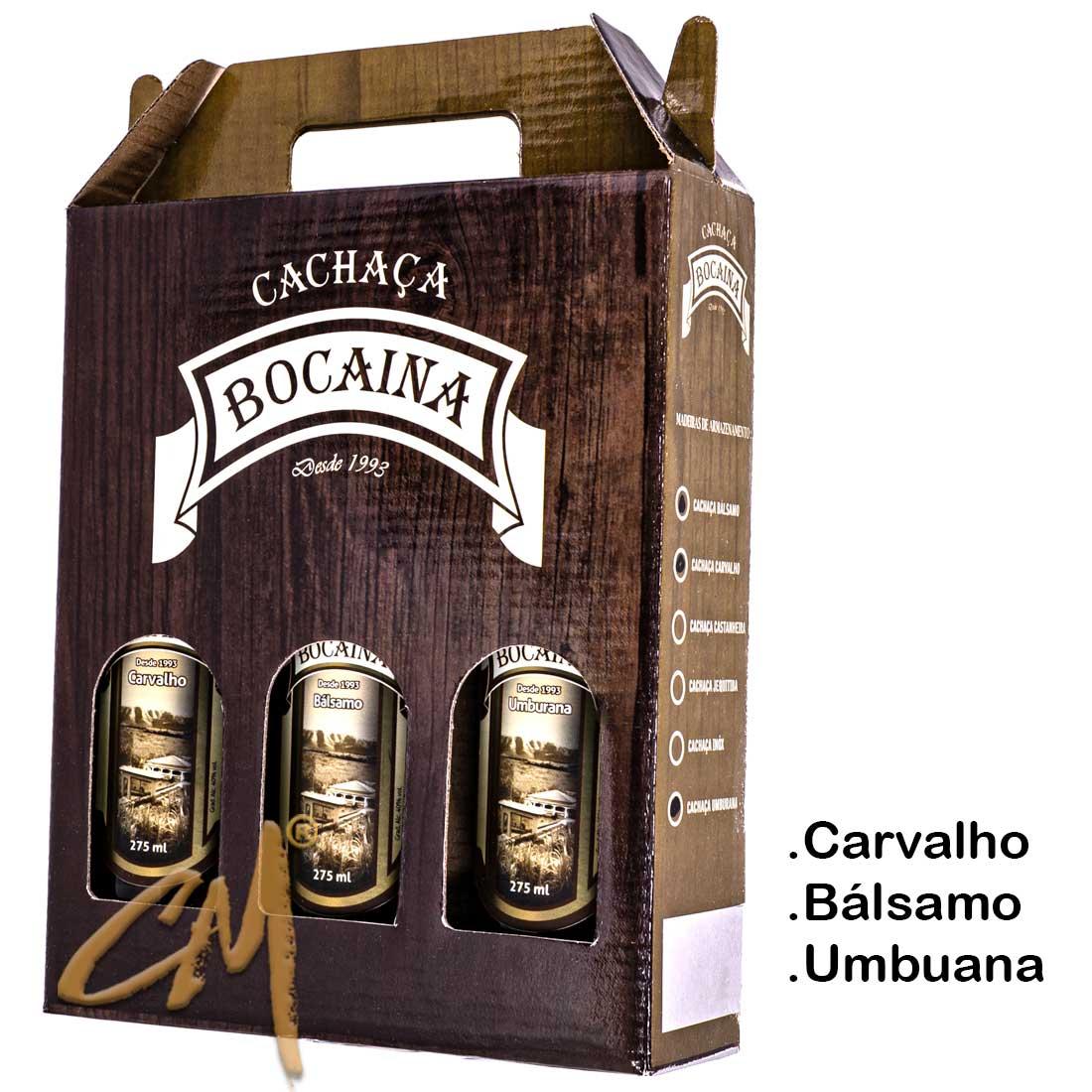 Cachaça Bocaina 275 ml - Kit Carvalho-Bálsamo-Umburana  (Lavras - MG)