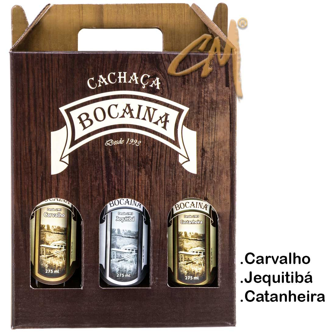 Cachaça Bocaina 275 ml - Kit Carvalho-Jequitiba-Castanheira  (Lavras - MG)
