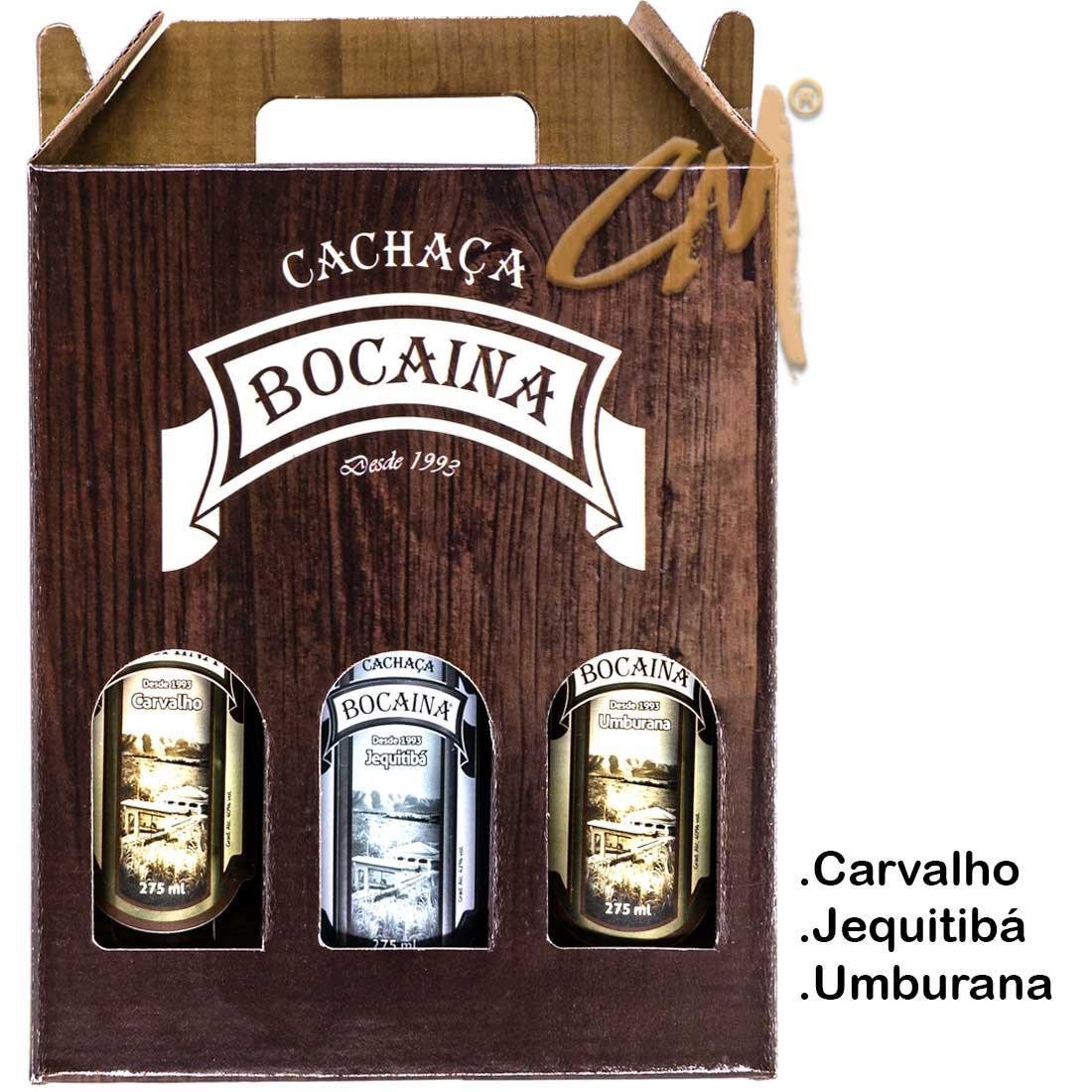 Cachaça Bocaina 275 ml - Kit Carvalho-Jequitibá-Umburana  (Lavras - MG)