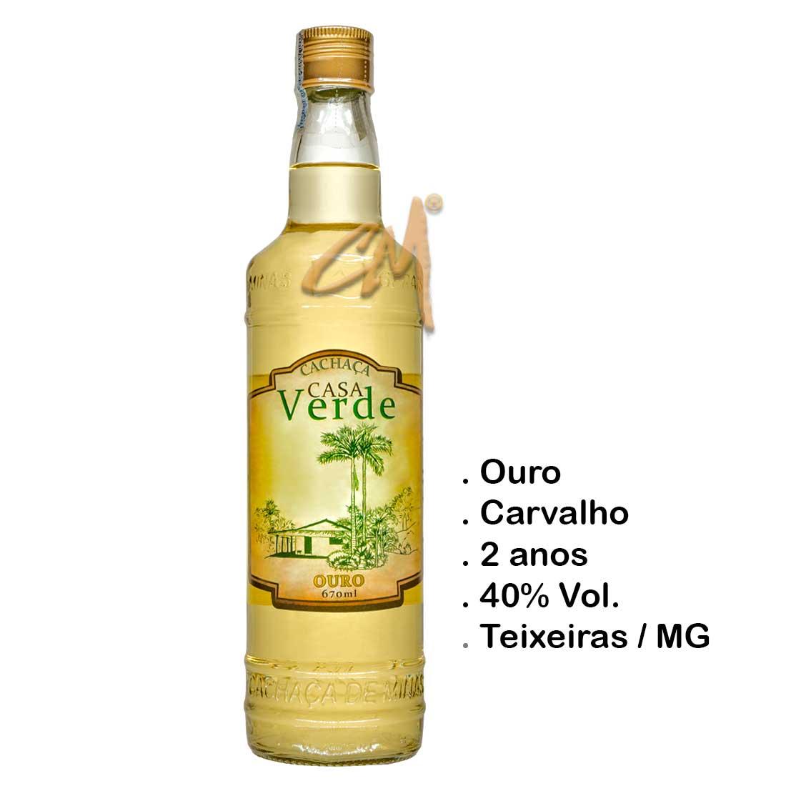 Cachaça Casa Verde Ouro 670 ml (Teixeiras - MG)