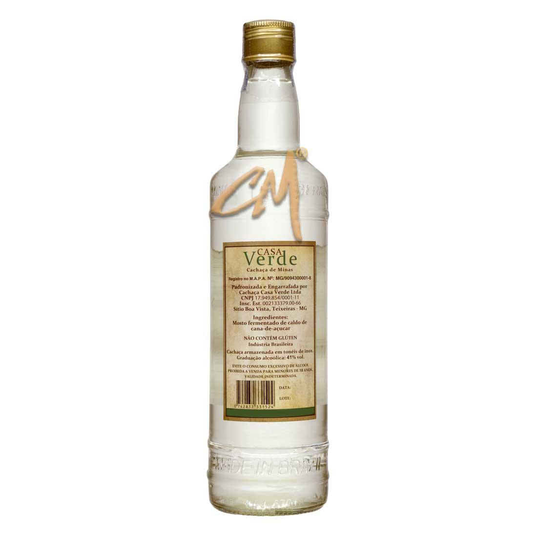 Cachaça Casa Verde Prata 670 ml (Teixeiras - MG)