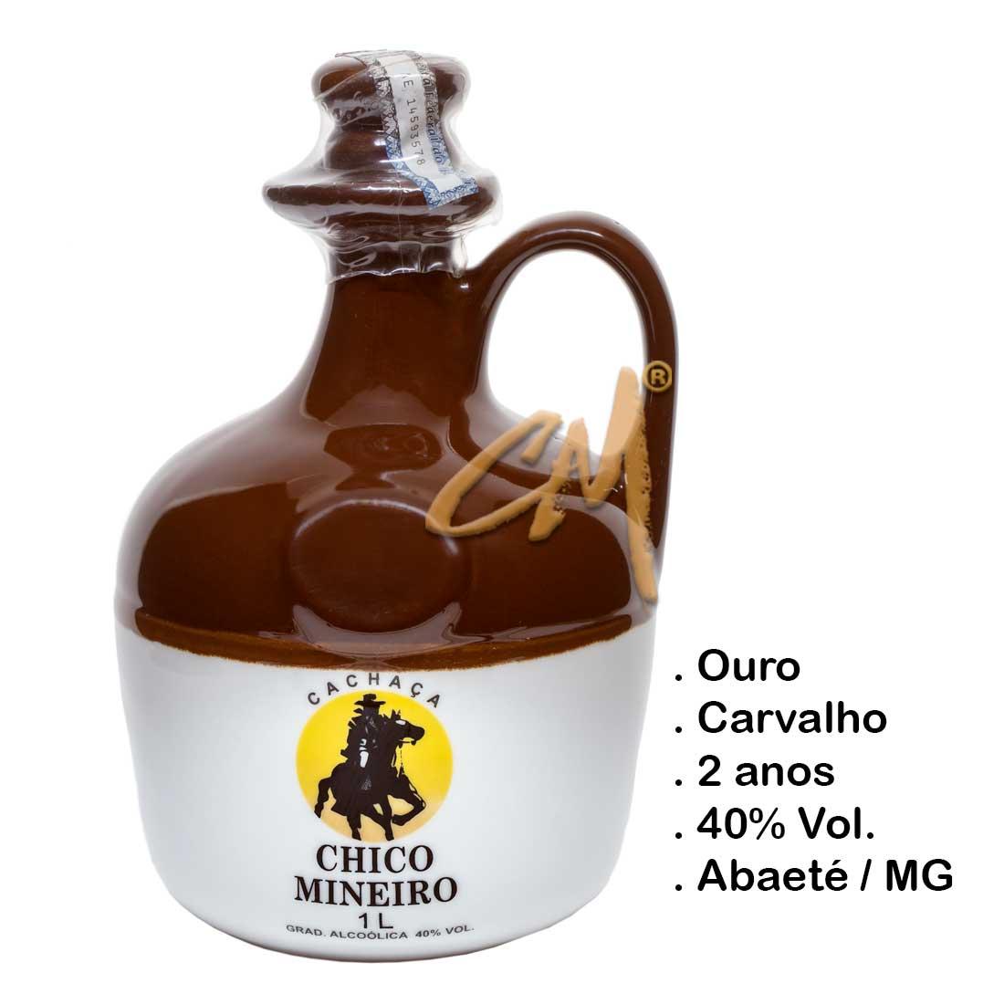 Cachaça Chico Mineiro Ouro Louça Moringa 1000 ml (Abaeté - MG)