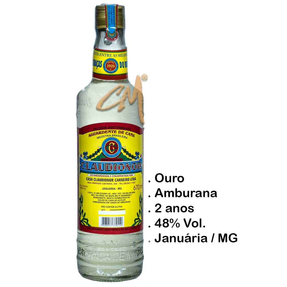 Cachaça Claudionor 670 ml (Januária - MG)