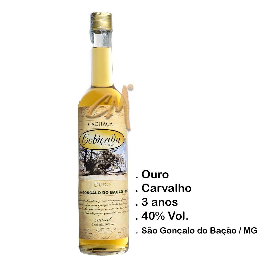 Cachaça Cobiçada Ouro Seduction 500 ml (São Gonçalo do Bação - MG)