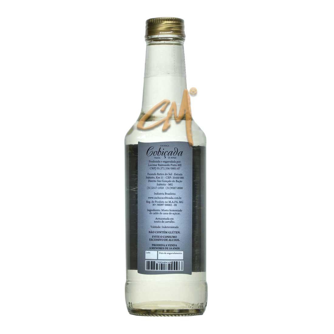 Cachaça Cobiçada Prata 275 ml (São Gonçalo do Bação - MG)