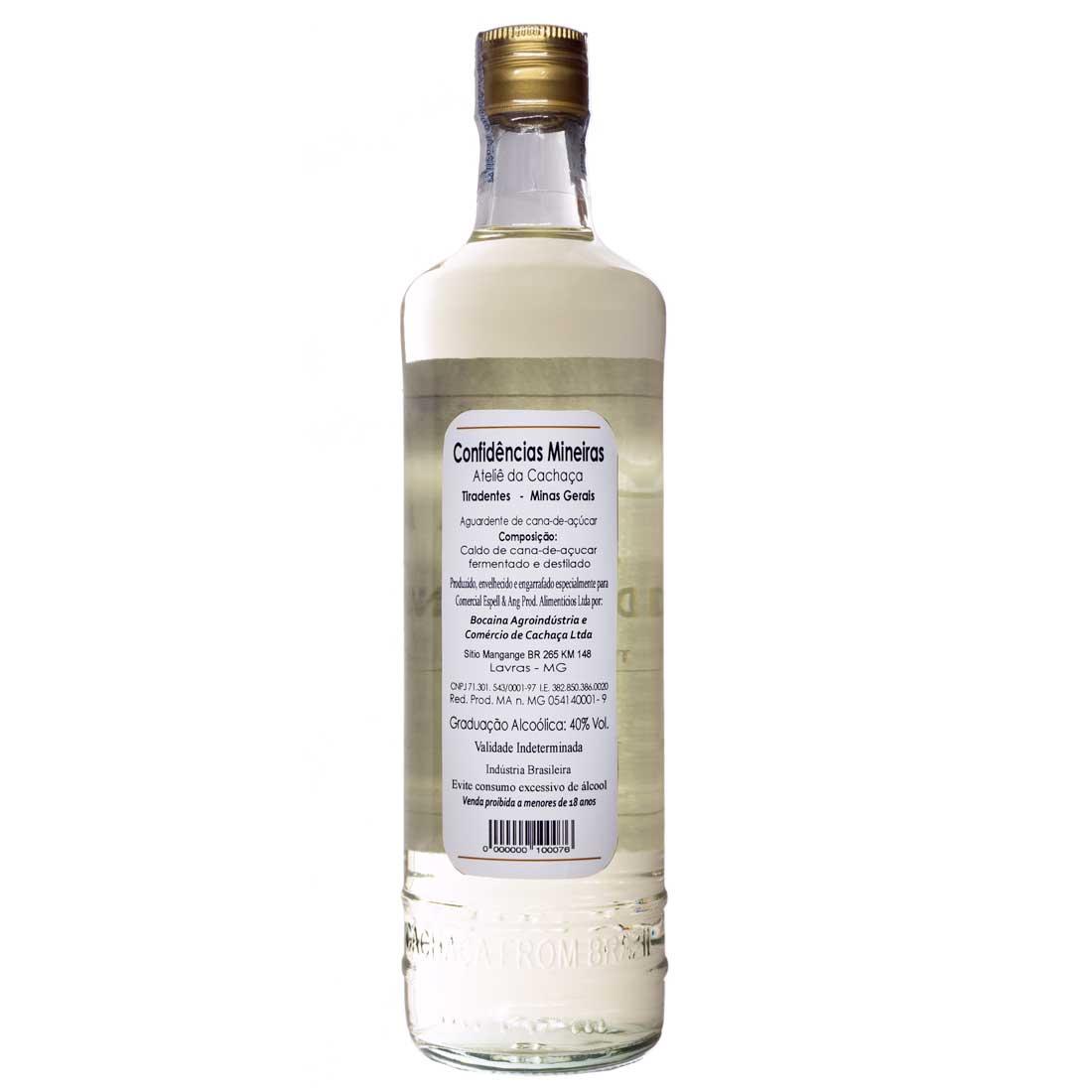 Cachaça Confidências Mineiras Prata 700 ml (Lavras - MG)