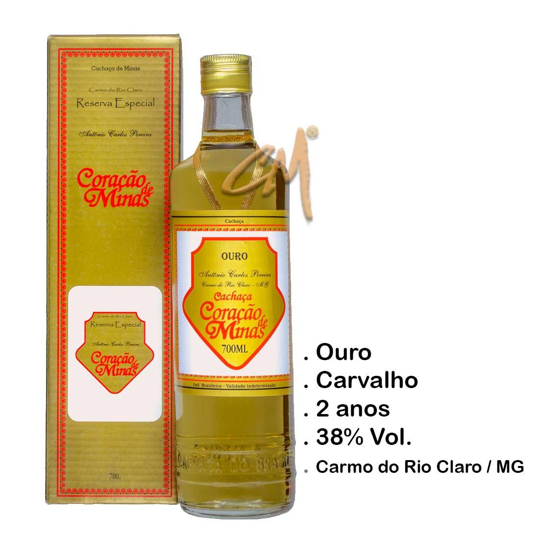 Cachaça Coração de Minas 700 ml (Carmo do Rio Claro - MG)