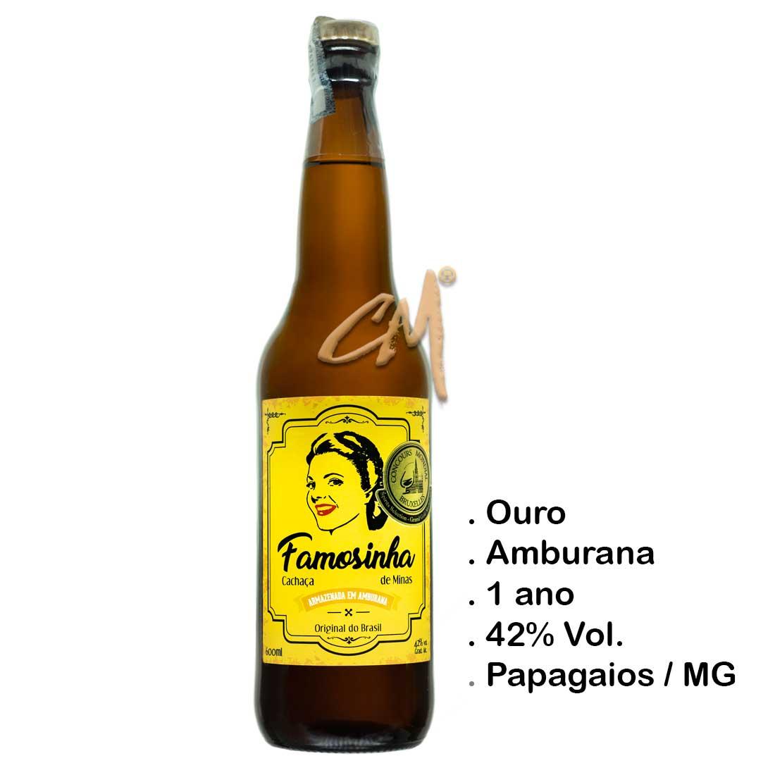 Cachaça Famosinha de Minas 600 ml (Papagaios - MG)