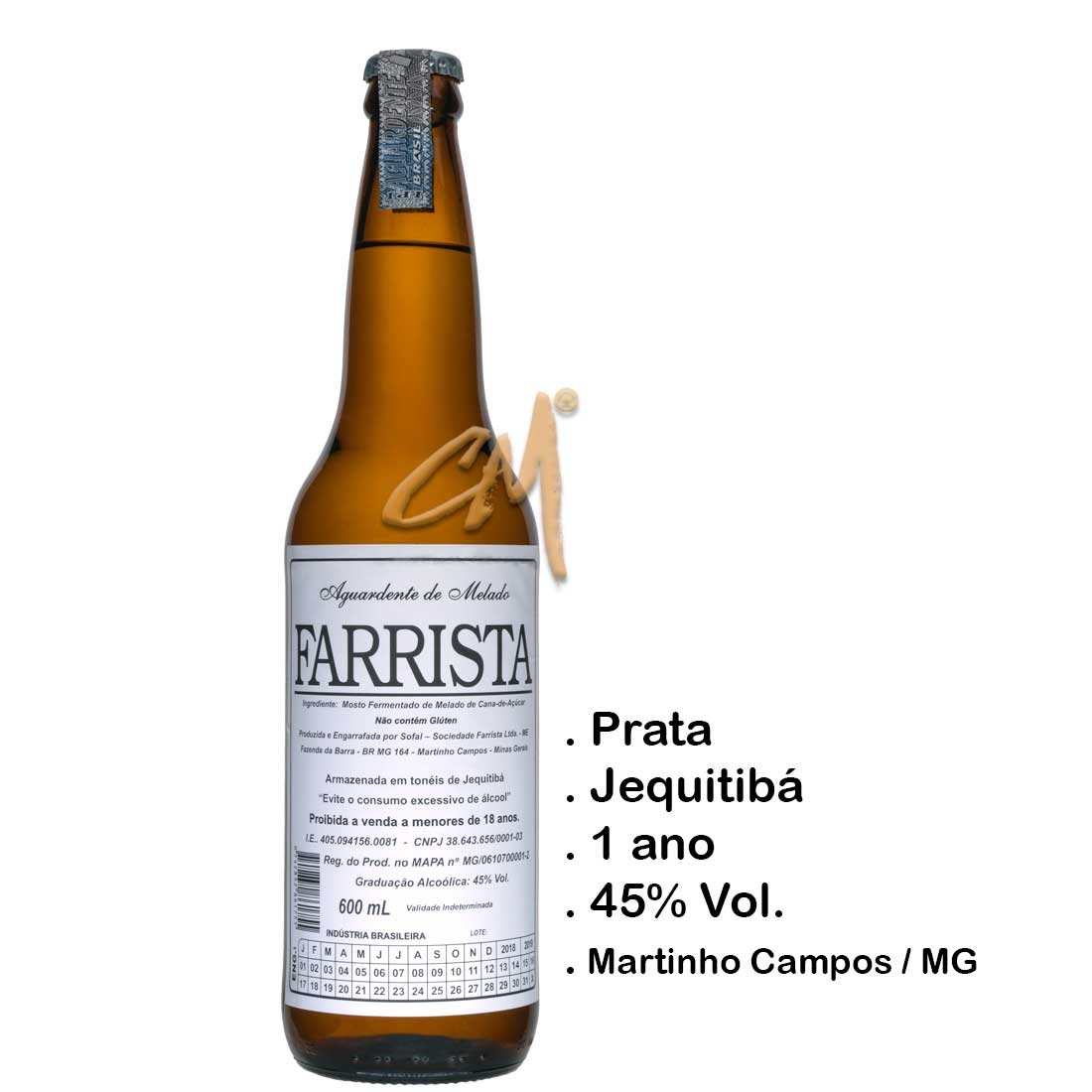 Cachaça Farrista 600 ml (Martinho Campos - MG)