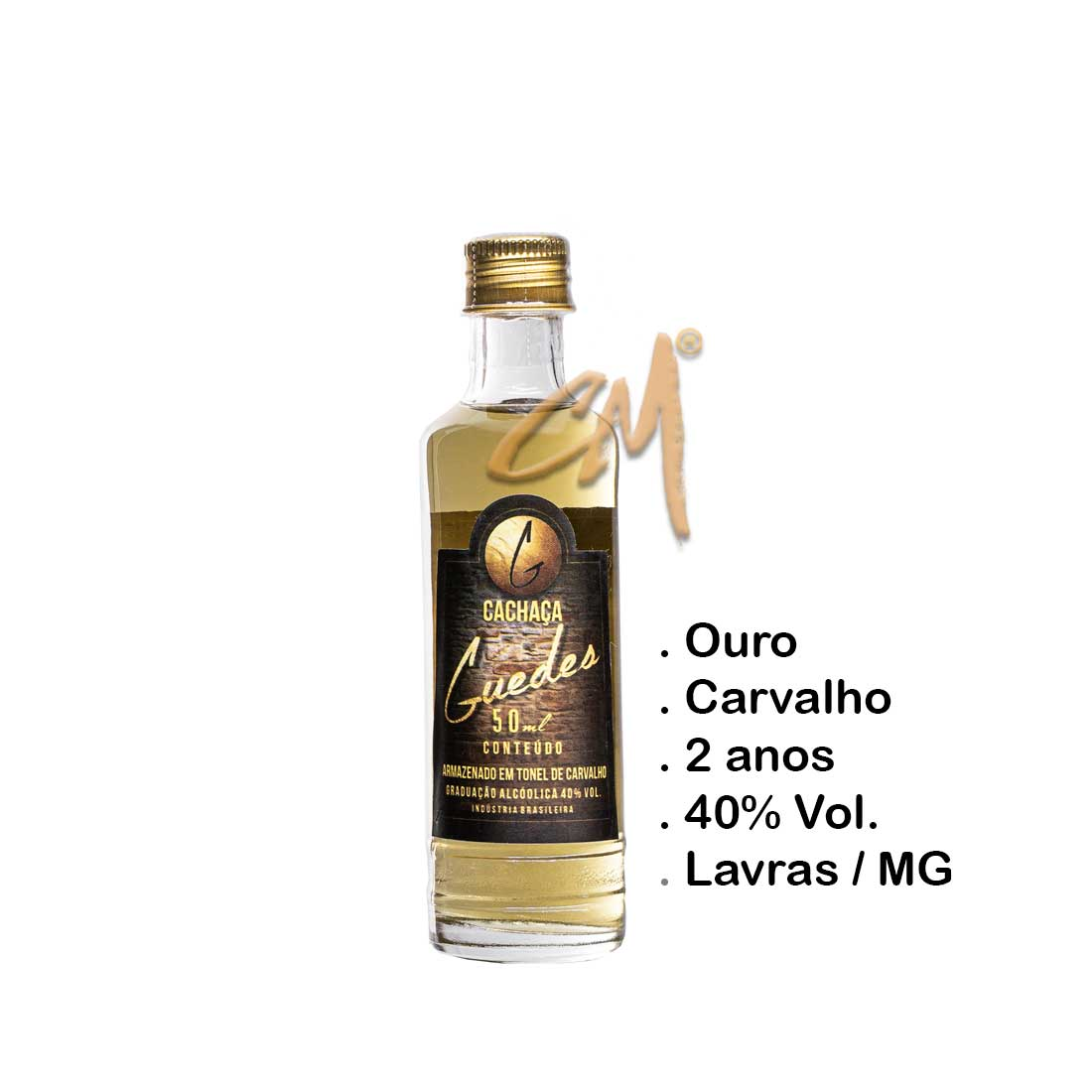 Cachaça Guedes Ouro 50 ml (Lavras - MG)