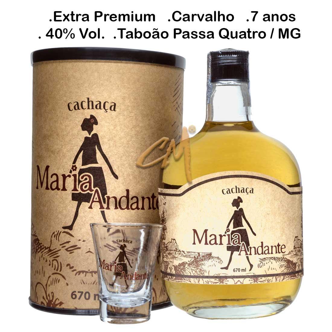 Cachaça Maria Andante Ouro com Box  670 ml (Taboão Passa Quatro - MG)