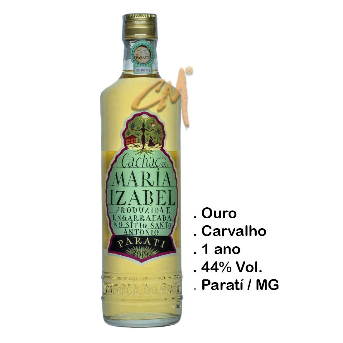 Cachaça Maria Izabel Ouro 700 ml (Paratí - RJ)