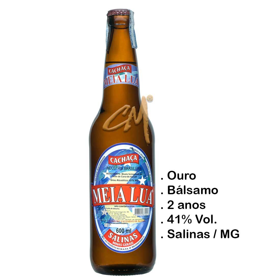 Cachaça Meia Lua Ouro 600 ml (Salinas - MG)
